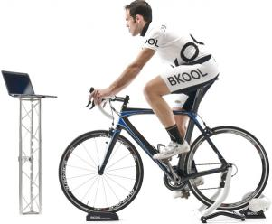 A cyclist using a Virtual Reality Turbo Trainer