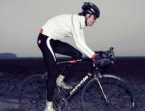 A cyclist wearing a waterproof jacket