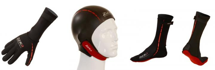 Image of a Zone3 swimming glove, hat and socks