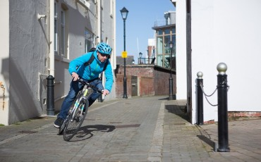 Image of cyclist cornering on bike