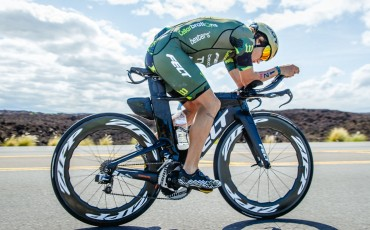 Aero triathlon bike rider