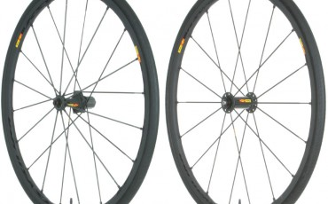 A pair of road bike wheels