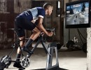 Man using a turbo trainer with Zwift