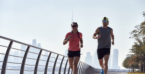 Two runners testing out long distance run shoes