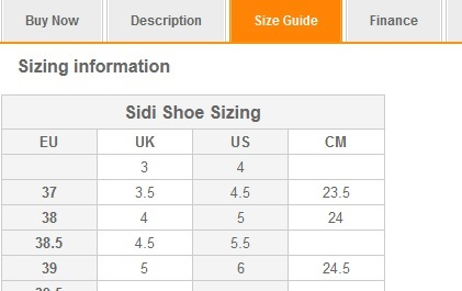 Sidi Shoes sizing guide