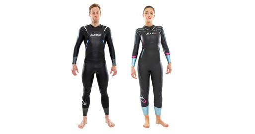 Image of a man and woman wearing a Comfort Fit Zone3 wetsuit