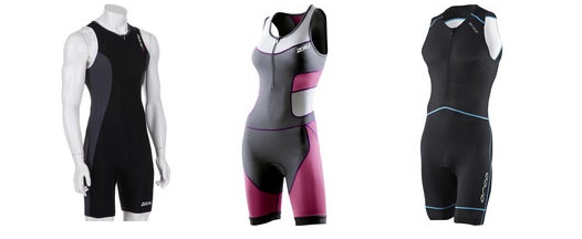 Image of three triathlon one piece suits
