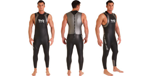 Image of a man wearing a Sleeveless Wetsuit from 3 different angles